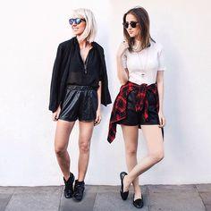 we're in love with today's mood! ❤️ shorts de couro, all black, xadrez e cropped com golinha foram as escolhas do dia. #stylemood
