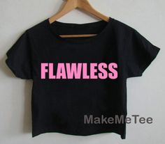 New FLAWLESS Logo Beyonce Yonce Hipster Printed Crop top Tank Top Women Black and White Tee Shirt - MM1
