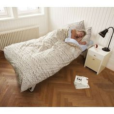 Duvet cover with knitting pattern.