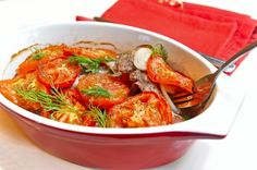 Pork with tomatoes in an oven