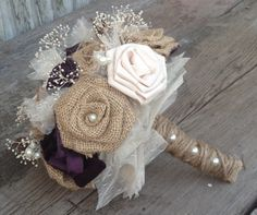 Beautiful bridal bouquets with handmade silk and burlap flowers and vintage inspired. I think this would be great for the Bouquet toss, if Ashlyn doesn't want to throw her real one. Burlap Bouquet, Burlap Flowers, Burlap Lace, Fabric Flowers, Bouquet Toss, Hessian, Boquette Wedding, Wedding Bouquets, Rustic Wedding