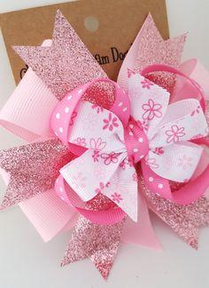 Rosa brillo de pelo arco - Babys primer cumpleaños arco - 4 pulgadas vacaciones Pinwheel arco alligator clip cabello de las niñas de flores de brillo rosado arco - #294