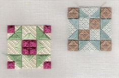 Feb 11, 2014 - The theme for August was to depict traditional quilt blocks in needlepoint, within the Twinchy parameter of 2 inches square. These were FUN - quick and easy and interesting to stitch. These blocks are Indian Star (brown and sage) and Aunt Dinah (pink and green) Blogged at pinsneedles.wordpress.com/ #colourcomplements #stitchdesign #stitchpattern