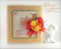 a card using Large Fancy Sentiments from @JustRite Papercraft, Inc. and ribbon from the Stamp Simply Ribbon Store