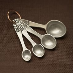 flower measuring spoons - hand cast pewter