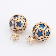 Cute Women's Ball Alloy Blue Casual Stud Earrings 2 Pieces(More Color Available) Cheap Earrings, Women's Earrings, Double Sided Earrings, Cut Out Design, Blue Pearl, Cute Woman, Electric Blue, Jewelry Watches, Gems
