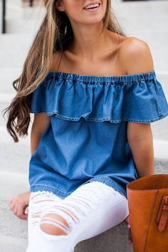 Off the shoulder + white distressed denim.