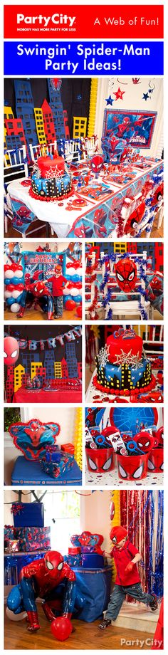 Go all out with a power-packed Spider-Man birthday themed party! Re-create the webslinger's cityscape with party ideas your little hero will love!
