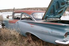 Shop for-and learn about-Vintage Chevrolet Impala Cars. The roots of the 1958 Impala extend to the when Chevrolet's chief engineer, Ed Cole,. Danny Zuko, 59 Chevy Impala, Chevrolet Chevelle, Junkyard Cars, 1950s Car, Rusty Cars, Classic Chevrolet, Lifted Ford Trucks, Abandoned Cars