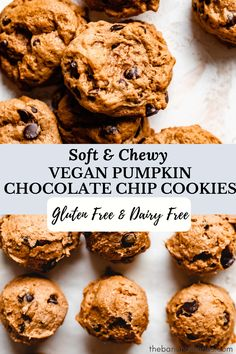 These soft and chewy vegan pumpkin chocolate chip cookies are loaded with pumpkin spice, real pumpkin, and of course chocolate chips! Completely dairy free and refined sugar free, these super easy pumpkin cookies can be made gluten free and are ready in 15 minutes for the perfect fall dessert! #pumpkin #cookies #vegan #dairyfree