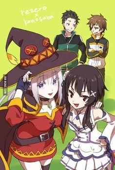 Emilia and Megumin/ Subaru and Kazuma Anime Meme, Konosuba Anime, Fan Art Anime, Anime Crossover, Manga Japan, Konosuba Wallpaper, Anime Shop, Monthly Girls' Nozaki Kun, Anime Sensual