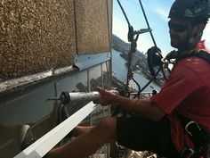 Caulking & Sealing at Heights #Abseiling #RopeAccess #WorkAtHeights #HeightSafety #RopeAccessTechnician #AbseilersUnited #Caulking #Sealing