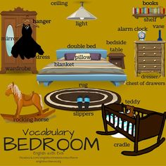 Vocabulary -BEDROOM, ESL, EFL, English Vocabulary, Furniture, Bedroom, English with Eva