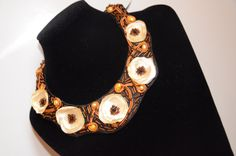 Statement necklace with pearls. For sale.