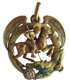 A pendant featuring Saint George slaying a dragon made by Lluís Masriera i Rosés and in the collection at the Museu Nacional d'Art de Catalunya Bijoux Art Nouveau, Art Nouveau Jewelry, Jewelry Art, Jewelry Crafts, Jewelry Design, Jewlery, Ancient Jewelry, Antique Jewelry, St Georg