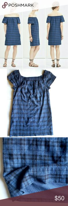 """Madewell  Plaid off The Shoulder Dress This is how we do summertime plaids. A flirty dress in our favorite '70s-inspired off-the-shoulder neckline (basically, the perfect opportunity to show off those sweet shoulder freckles).    Nonwaisted. Falls 30 1/4"""" from highest point of bodice. Cotton.  19"""" armpit to armpit,  32"""" long shoulder to bottom hem. In excellent LIKE NEW condition. Madewell Dresses"""