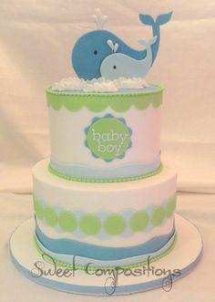 Whale themed baby shower – buttercream finish, fondant accents, gumpaste whale cutouts -- find me on Facebook: https://www.facebook.com/pages/Sweet-Compositions