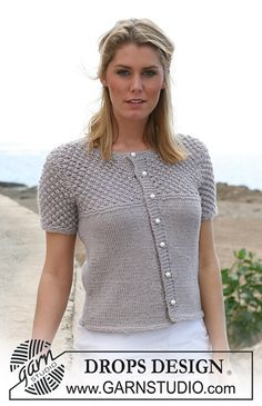 "Ravelry: 105-24 Jacket with short sleeves in stocking sts and blackberry stitch in ""Silke-Alpaca"" pattern by DROPS design. Free"