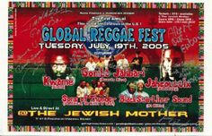 Original AUTOGRAPHED concert poster for Global Reggae Fest from 2003. AUTOGRAPHED BY Kwame, Gomba Jahbari, Jahcoustix and others.  11 x 17 inches.