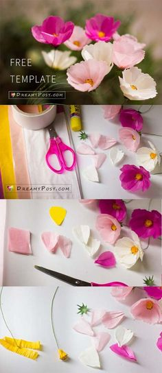Paper Cosmos tutorial and free template, made from tissue paper, Paper crafts and paper flowers Tissue Paper Crafts, Paper Flowers Craft, Flower Crafts, Diy Flowers, Diy Paper, Fabric Flowers, Free Paper, Tissue Paper Decorations, Cosmos Flowers