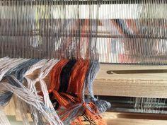 Handwoven Scarf   Marianna Nello Textiles   Striped scarf   Weaving process  #handwoven #weaving #loom #scarf #fashionaccessories #textiledesign #handweaving #weavers #weavingdrafts #pattern #design #textiles #MariannaNello #Orange #Stripes