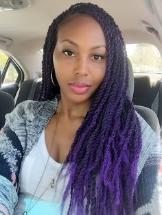 Senegalese Twists with Nubian twist/Marley hair-Protective style perfection!  Purple hair don't care!
