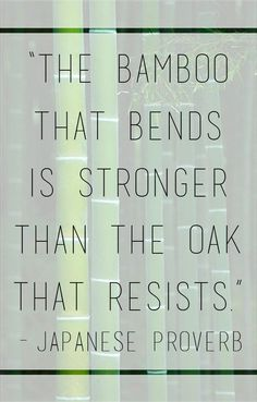 The bamboo that bends is stronger than the oak that resists - Japanese Proverb