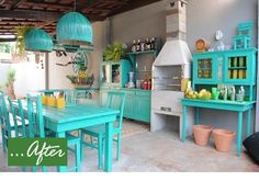 Our kitchen is not this bare but many homes in Aruba are, especially charming cunucu homes. beach colors on washed out rustic design...stripped room w/ add ons