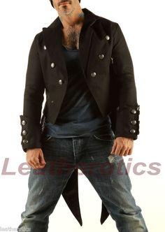 Mens Black Tailcoat Cloak Gothic Steampunk jacket Morning Dress Coat STPG1. £80.00, via Etsy.