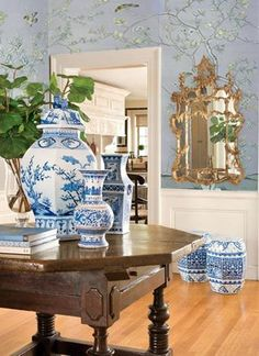 Chinoiserie Chic: Gray Walls or Wallpaper?  1 of 2