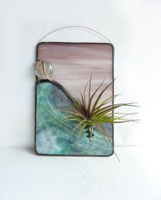 Stained Glass Panel Air Plant Holder Mauve Sky by glassetc