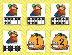 Scarecrow Ten Frame Matching Game by Elena Ortiz Fall Preschool, Preschool Math, Kindergarten Teachers, Math Classroom, Teaching Math, Classroom Ideas, Maths, Teaching Ideas, Autumn Activities