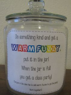 kindergarten warm fuzzies jar - Google Search