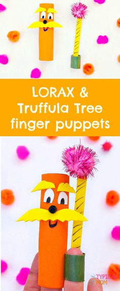 Cute Dr.Seuss craft featuring The Lorax and Truffula tree finger puppets! Easy craft for kids.