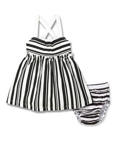 Look at this Black & White Stripe A-Line Dress & Bloomers - Infant on #zulily today!