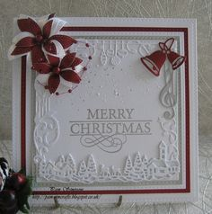 """Good morning friends, followers and visitors..Warm welcome to new followers. Another Christmas card design today!Sorry those  Poppystamps """"Stitched Poinsettia Trio"""" again..    I went to a craft show"""