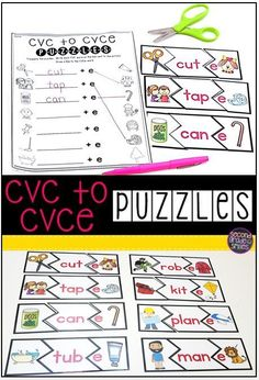 Are your first grade students struggling to read, spell, and differentiate between short vowel CVC and long vowel CVCe words? Try out these CVC to CVCe puzzles! Students match each short vowel CVC word with a picture illustrating its meaning on one side. First Grade Phonics, Teaching First Grade, Teaching Phonics, First Grade Reading, Kindergarten Literacy, Student Teaching, Literacy Centers, Phonics Games, Jolly Phonics