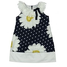 Monnalisa Girl's Blue Dress with Frilly Collar and Daisy Print. Available now at www.chocolateclothing.co.uk #childrenswear #minifashion #Monnalisa #chocolateclothing