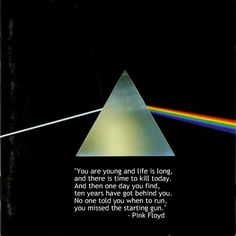 You are young and life is long, and there is time to kill today. And then one day you find, ten years have got behind you. No one told you when to run, you missed the starting gun.-Pink Floyd