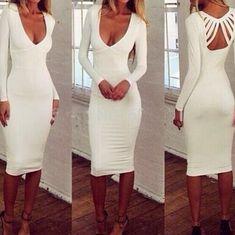 Slim V-neck long-sleeved white dress #AD40407ad