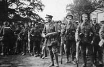 Troops, with Captain Francis Dodgson, about to entrain from Liphook Station, - 26 August 1915