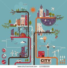 City info graphics by Stella Caraman, via ShutterStock