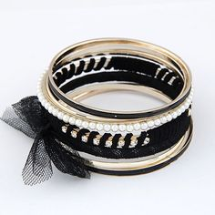 Zinc Alloy Bangle Set, with ABS Plastic Pearl & Gauze, gold color plated, black, lead & cadmium free, 80mm, Inner Diameter:Approx 60mm, Length:Approx 7.5 Inch, 7PCs/Set,china wholesale jewelry beads