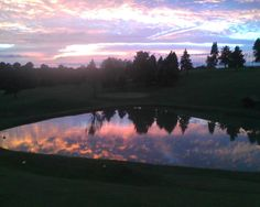 colorful sky reflection by lake at Scally's Golf Course, Moon Township, PA (Oct. 2012)