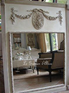 Ciel de lit demi lune ange patine gris et blanc shabby for Decoration shabby romantique