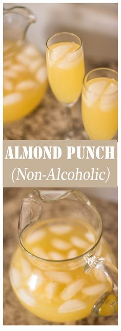 Almond Punch (Non-Alcoholic) // Our go-to punch for every major occasion! This nonalcoholic almond punch recipe is not only delicious, but it can easily serve a huge crowd inexpensively, whether for Thanksgiving or a wedding. Alcoholic Punch Recipes, Easy Alcoholic Drinks, Drinks Alcohol Recipes, Drink Recipes, Yummy Drinks, Fun Drinks, Cocktail Recipes, Wedding Punch Recipes, Easy Punch Recipes