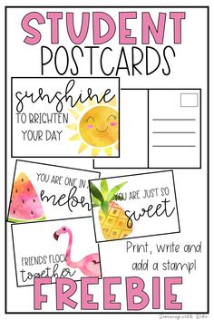 Tell your students you miss them and are thinking about them with these FREEBIE student postcards while doing distance l Home Learning, Learning Resources, Teaching Tools, Learning Cards, End Of School Year, Beginning Of School, Printable Postcards, Teacher Postcards, Framed Postcards
