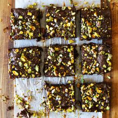 Dark Chocolate Brownies with Pistachios and Easy Salted Caramel Sauce