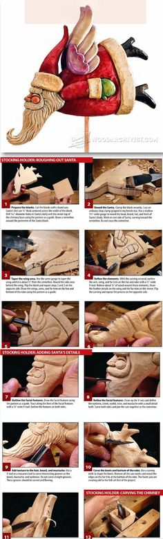 Carving Santa Stocking Holder - Wood Carving Patterns and Techniques | WoodArchivist.com