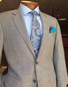 5f02d1a3b79 Very subtle brown light blue glen plaid suit from Baroni paired with a Peter  Millar